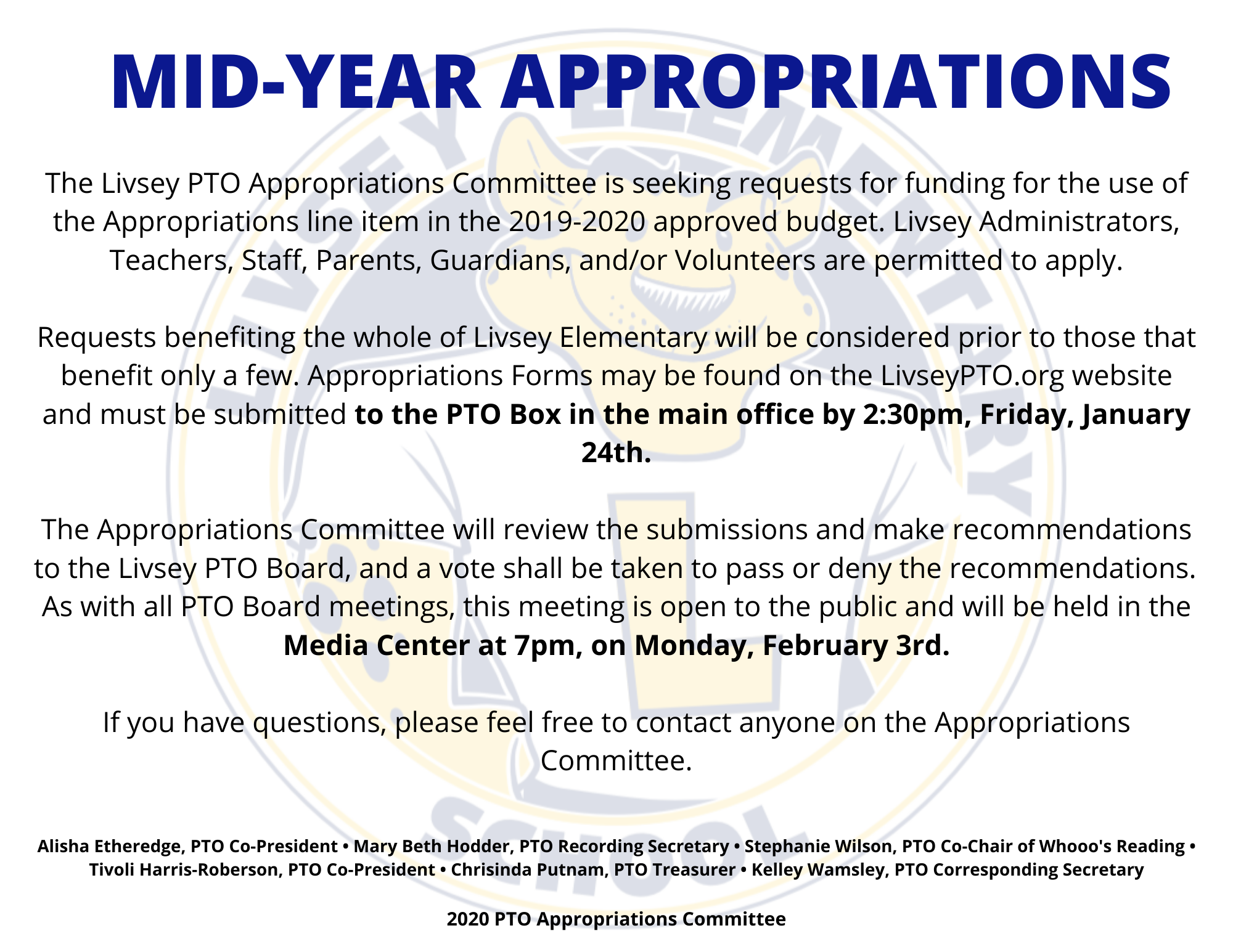 Approp Requests Due Jan 24th